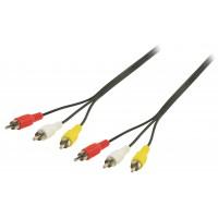 Câble vidéo composite 3RCA M - 3RCA M 3x RCA Mâles - 3x RCA Mâles 5.00 m Noir