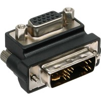 Adaptateur InLine® DVI-A DVI 12 + 5 coudé à 90 ° vers VGA 15HD femelle