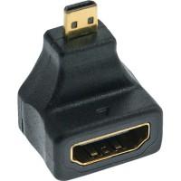 Adaptateur InLine® HDMI HDMI A femelle à HDMI D mâle coudé doré