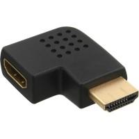 Adaptateur InLine® HDMI mâle à côté femelle coudé à gauche, doré