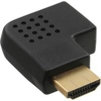Adaptateur InLine® HDMI mâle à côté femelle coudé à droite, doré