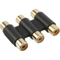 Adaptateur audio/vidéo, InLine®, 3x connecteur Cinch femelle sur 3x connecteur Cinch femelle, doré