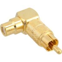 Adaptateur audio, InLine®, Cinch mâle/fem., 90°, doré