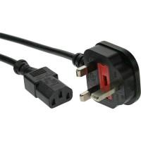 Câble d'alimentation, InLine®, fiche Angleterre à 3 broches IEC C13, noir, H05VV-F, 3x0,75mm², 0,5m