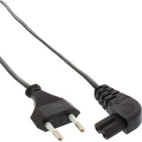Câble d'alimentation, InLine®, fiche Euro à fiche Euro8 coudée, noir, 0,5 m