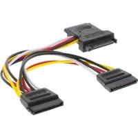 Câble adaptateur d'électricité SATA, InLine®, SATA mâle/fem. à 2x SATA mâle, 15cm