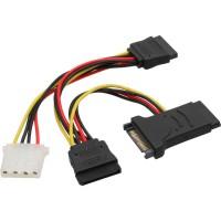 Câble adaptateur d'électricité SATA, InLine®, SATA mâle/fem. à 2x SATA mâle + 5,25 St