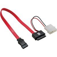 """Câble adaptateur d'électricité SATA, 1x SATA + 1x 5,25"""" fem. à 7+6 SlimSATA prise femelle, 30+15cm (5V)"""