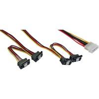 Câble d'alimentation en Y interne InLine® 1x Molex à 4x SATA coudé avec loquets 40 + 55cm