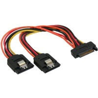 Câble Y d'alimentation InLine® SATA femelle à 2x mâle 0,15 m