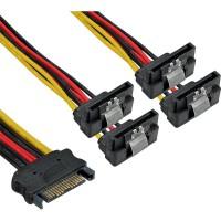 Câble électrique en Y SATA, InLine®, SATA fem. à 4x SATA mâle plié, 0,15m
