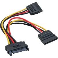 Câble électrique en Y SATA, SATA fem. à 2x SATA mâle, 0,3m