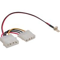 Câble adaptateur ventilateur, InLine®, 3pin ventilateur à 4pin bloc d'alimentation, 0,15m