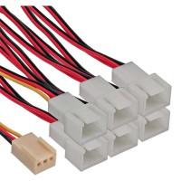 Câble adaptateur de ventilateur InLine® Câble en Y Molex 3 broches femelle à 6x Molex mâle 3 broches