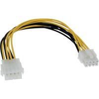 Rallonge câble électrique interne, InLine®, bloc d'alimentation - carte mère 8 broches. mâle/fem., 20cm