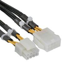 Rallonge câble électrique interne, InLine®, 2x4 broches mâle - 8 broches Bu, carte mère, 30cm