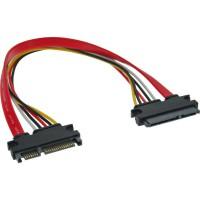 Câble d'alimentation InLine® SATA Data + SATA SATA 6Gb / s mâle vers femelle 0,5 m
