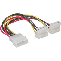 Câble Y d'alimentation interne InLine® 1x Molex 4 broches à 2x Molex 4 broches coudé 0,15 m