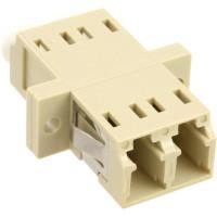 Adaptateur de fibre optique InLine®, manchon en céramique duplex LC / LC MM avec bride, gris