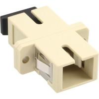 Adaptateur de fibre optique InLine®, manchon en céramique Simplex SC / SC MM avec bride, gris