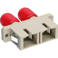 Adaptateur de fibre optique InLine® Duplex ST / SC, manchon métallique gris avec bride
