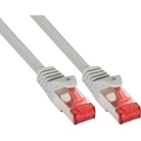 Câble de raccordement InLine® S / FTP PiMF Cat.6 250 MHz sans cuivre halogène gris 0.3m