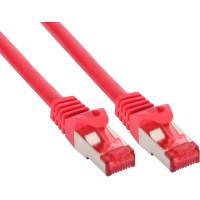 Câble Patch InLine® S / FTP PiMF Cat.6 250 MHz sans cuivre, sans halogène, rouge 0,25 m