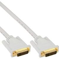 Câble InLine® DVI-D 24 + 1 mâle vers mâle DVI Dual Link blanc / or 2m