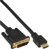Câble HDMI-DVI, InLine®, contacts dorés, HDMI mâle sur DVI 18+1 mâle, 1m