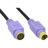 Rallonge PS/2, InLine®, mâle/fem. 2m PC99, prises violet, PREMIUM