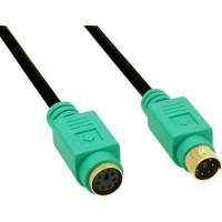 Rallonge PS/2, InLine®, mâle/fem. 3m PC99, prises vert, PREMIUM