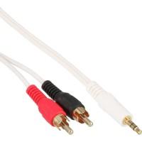 Câble audio InLine® 2x RCA mâle vers 3.5mm Stéréo mâle blanc / or 2.5m