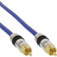 Câble Cinch vidéo, InLine®, PREMIUM, prise doré, 1x Cinch mâle/mâle, 1m