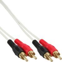 Câble audio InLine® 2x RCA mâle à mâle blanc / or 2m