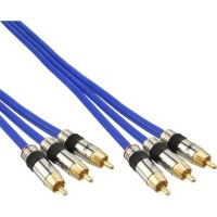 Câble Cinch AUDIO/vidéo, InLine®, PREMIUM, prise doré, 3x Cinch mâle/mâle, 15m