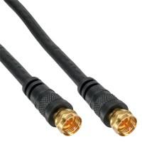 Câble InLine® SAT Premium 2x avec 2x prises F-Plug 85dB noir 5m