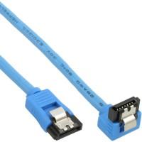 Câble de raccordement SATA rond, plié, InLine®, bleu, avec languette, 0,15m