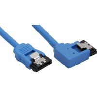 Câble de raccordement SATA 6Gb/s rond, plié à gauche, InLine®, bleu, avec languette, 0,3m