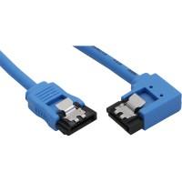 Câble de raccordement SATA rond, plié à droite, InLine®, bleu, avec languette, 0,3m