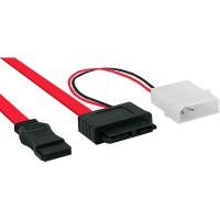 Câble InLine® Slimline SATA 150/300/600 Slim 13 broches vers SATA + 0,4 m de puissance