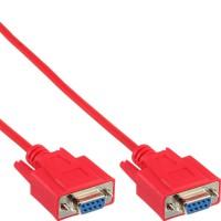 Câble null modem, InLine®, rouge, 9 broches fem./fem. 3m, encapsulé