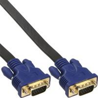 Câble plat InLine® S-VGA 15 HD mâle à mâle noir 5m