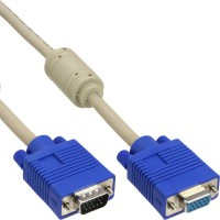 Rallonge S-VGA, InLine®, 15 broches HD mâle/fem., beige, 0,5m