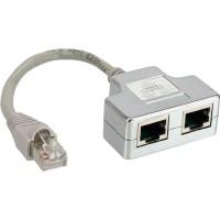 Reproductrice port ISDN, InLine®, 1x RJ45 mâle à 2x RJ45 Bu, avec câble
