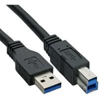 Câble InLine® USB 3.0 de type A mâle à type B mâle noir 5 m