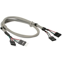 USB 2.0 Rallonge, InLine®, interne, 2x 4 broches connecteur IDC sur connecteur IDC femelle, 60cm