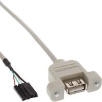Câble adaptateur USB 2.0 InLine® USB Un connecteur femelle à tête de 40 cm