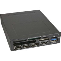 """InLine® Frontpanel pour lecteur de carte de baie 3,5 """"1x USB 3.0 + eSATA + 3x USB 2.0"""