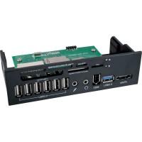 """InLine® Frontpanel pour lecteur de carte de baie 5.25 """"Audio eSATA 1 + USB 3.0 + 6 ports USB 2.0"""