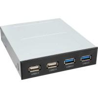 """Panneau avant InLine® pour baie 3,5 """"2x USB 3.0 2x USB 2.0"""